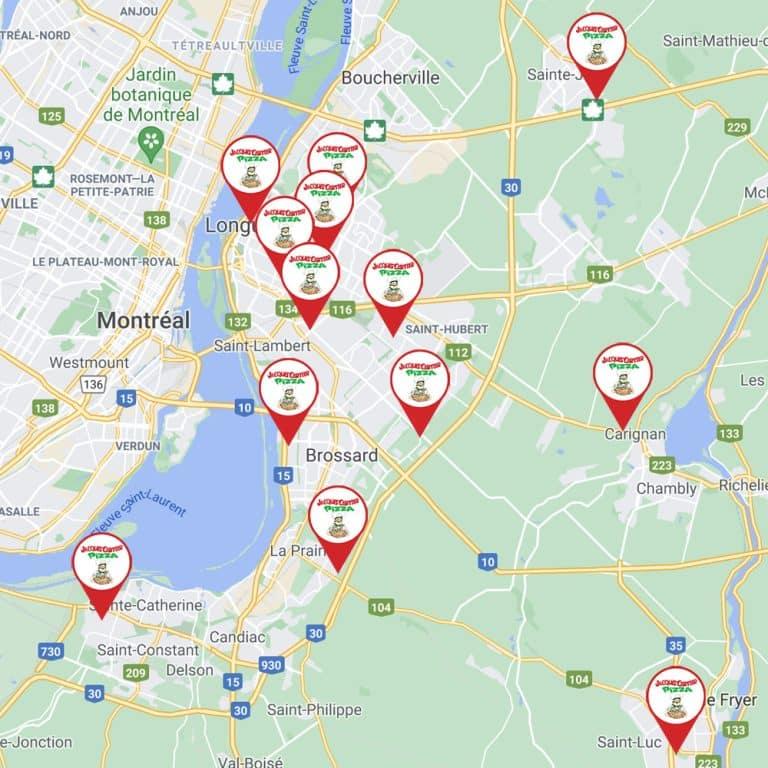 Jacques Cartier Pizza Map Succursales